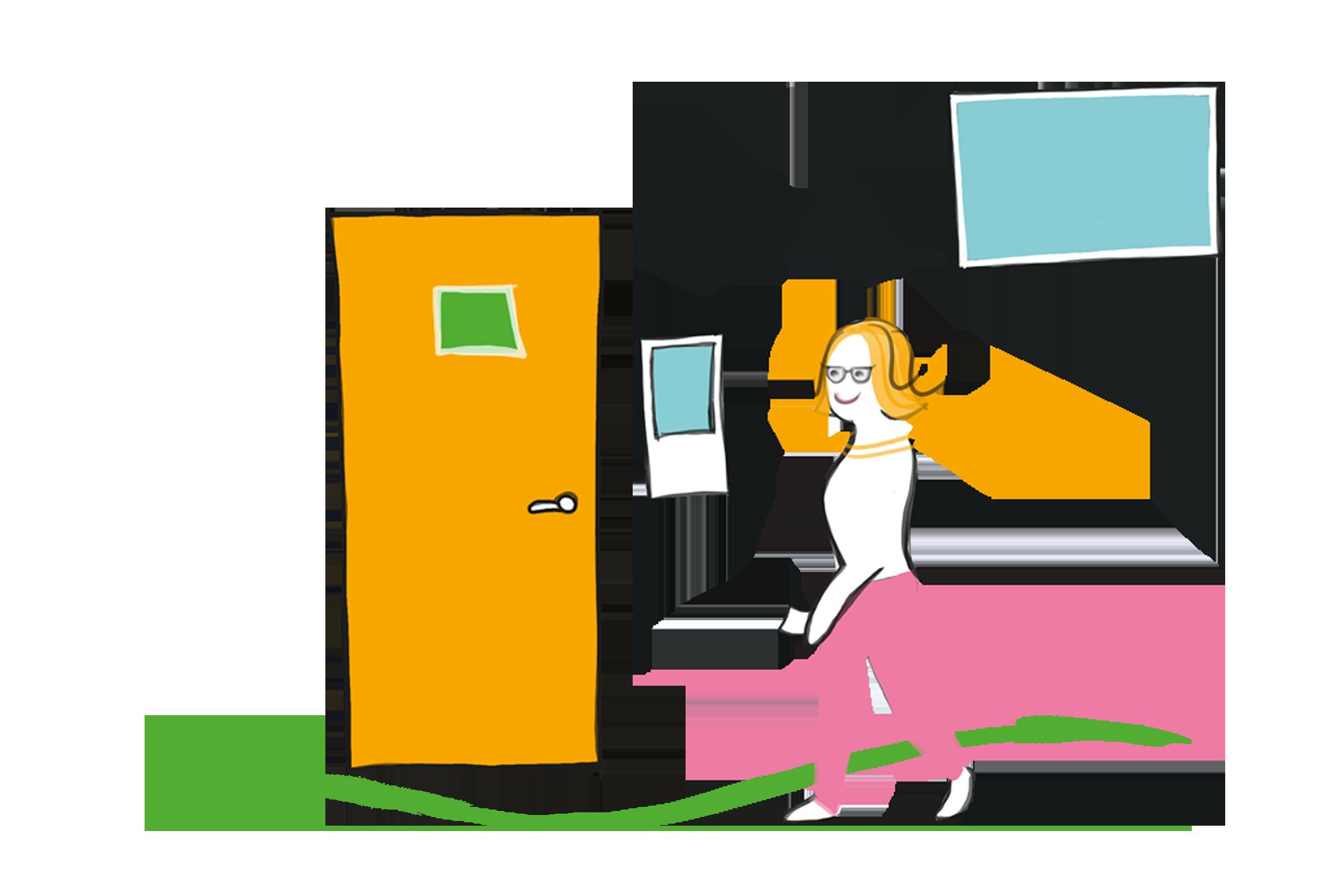 Patient entering a treatment room