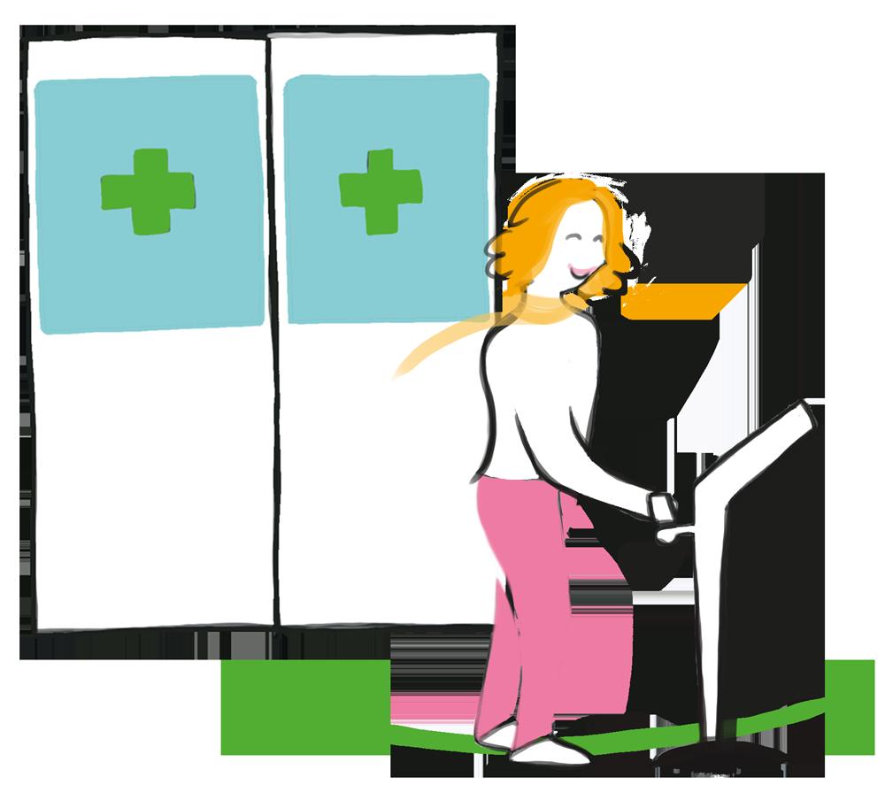 Patienten checkar in sig på terminalen